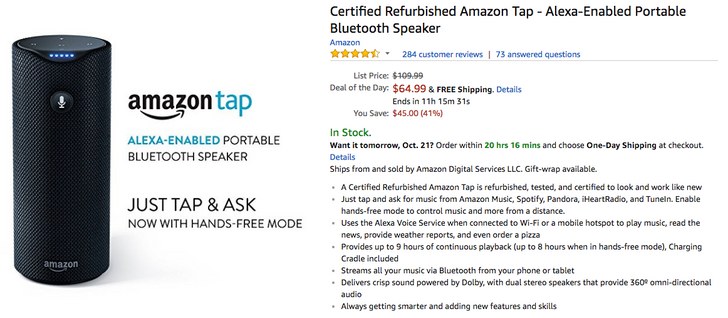 [Deal Alert] Refurbished Amazon Tap is just $64.99 ($45 off) as part of Amazon's Deal of the Day