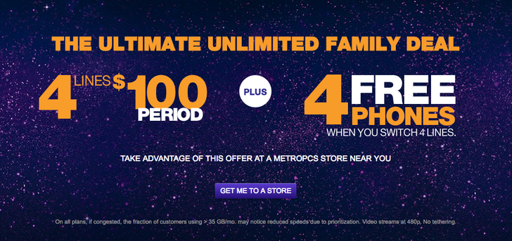 MetroPCS is offering four lines with unlimited LTE for just $100 with a new line, plus a free phone with every port-in