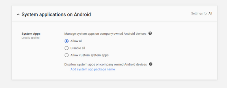G Suite admins now have greater control over system apps on company-owned Android devices
