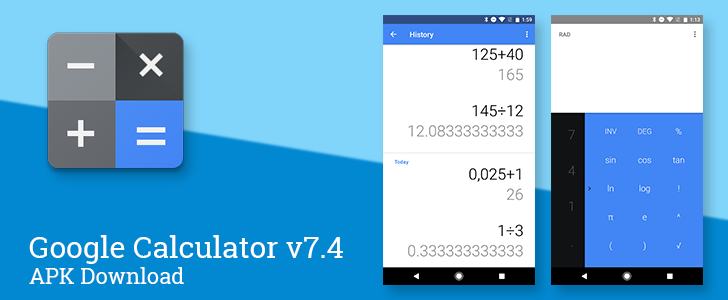 Google Calculator v7.4 switches to blue accent color, improves history screen and main display [APK Download]