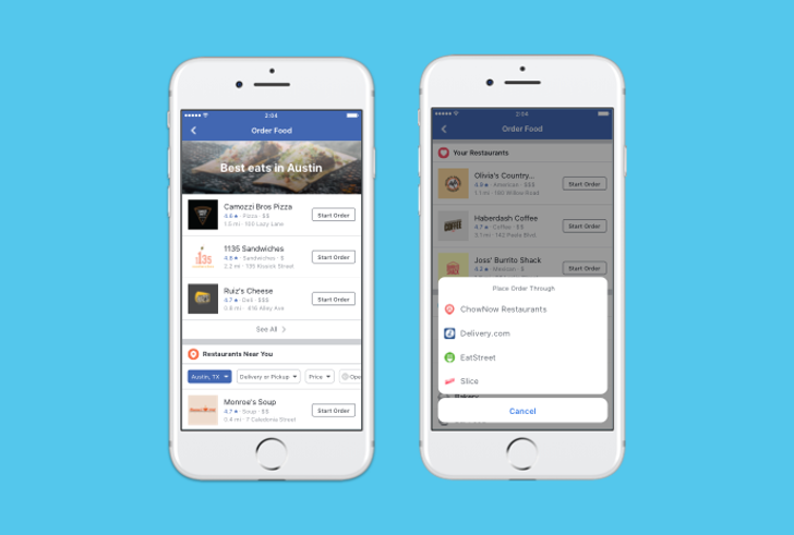 Facebook now lets you order food through the app or website