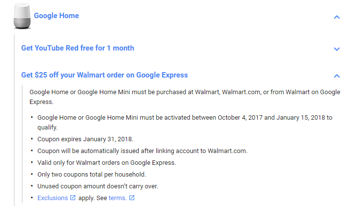 [Update: Correction] Deal alert: Buy a Home or Home Mini from Walmart, get a $25 coupon for your next Walmart order through Google Express