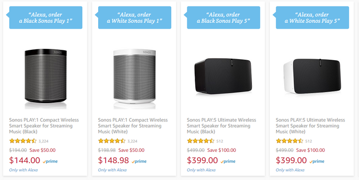 [Deal Alert] Get $50 off a Sonos Play:1 or $100 off a Play:5 with Alexa voice ordering