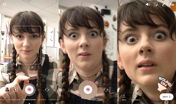 Instagram adds new 'Superzoom' mode and Halloween face filters