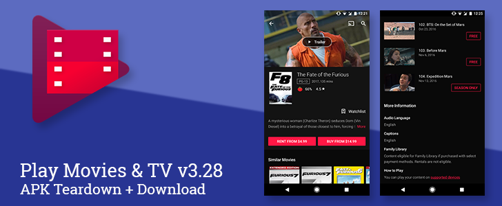 Play Movies & TV v3.28 relocates movie trailers and adds language information to TV shows [APK Teardown]