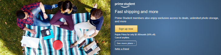 Amazon introduces a new discounted monthly Prime subscription price for students