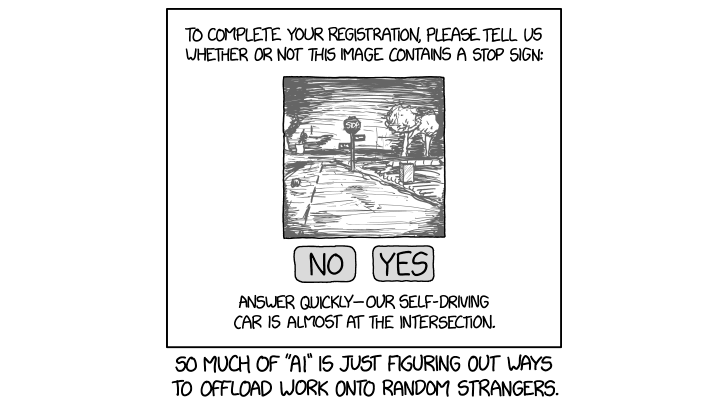 Today's XKCD comic takes a dig at self-driving cars and AI