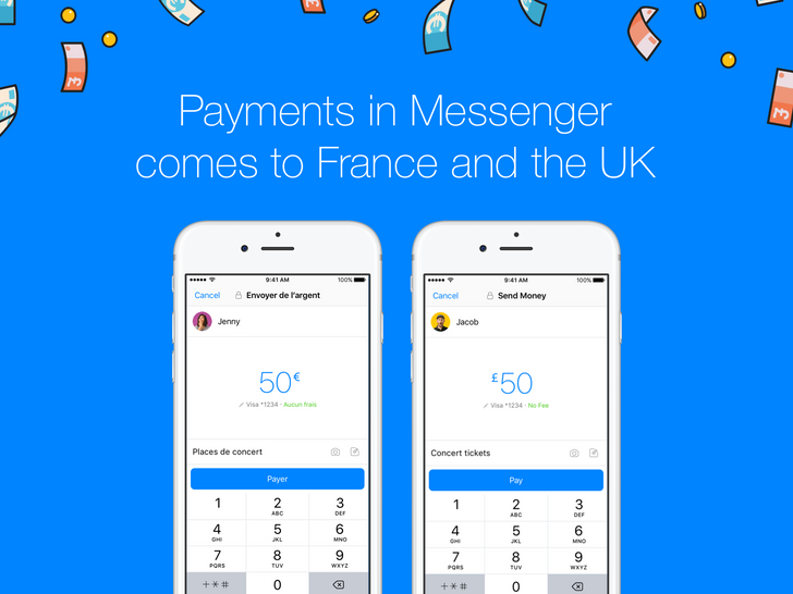 Facebook Messenger payments are now available in the UK and France