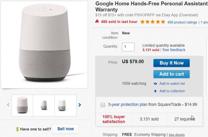 [Deal Alert] Google Home on sale for $64 with eBay coupon ($65 off)