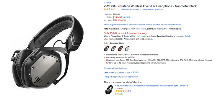 [Deal Alert] V-Moda Crossfade Wireless is just $179.99 ($120 off) on Amazon and B&H