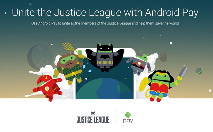 Android Pay joins up with Justice League to offer collectible bugdroid doodles