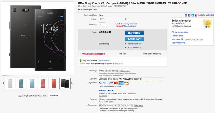 [Deal Alert] Xperia XZ1 Compact is down to $449 on eBay with coupon code, or $499.99 with a $50 gift card at Best Buy ($150 off)