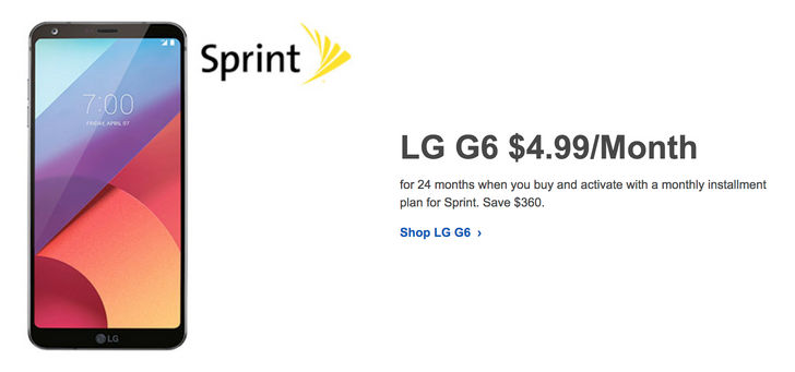[Deal Alert] Sprint LG G6 is just $120 ($360 off) over 24 months at Best Buy