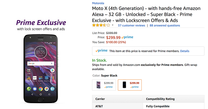 [Deal Alert] Moto X4 Prime Exclusive is $299.99 ($30 off) from Amazon