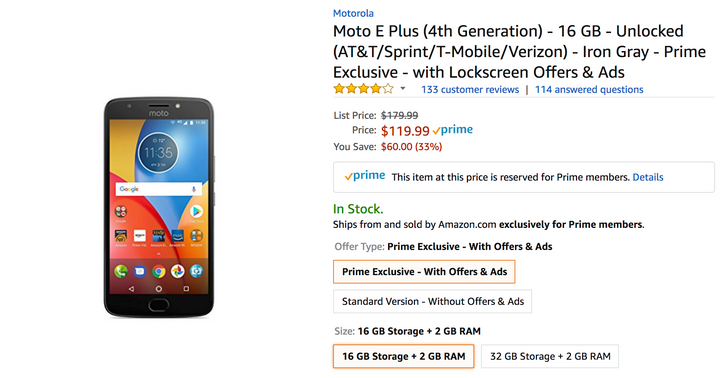 [Deal Alert] Moto E4 Plus standard/Prime Exclusive variants down to as little as $119.99