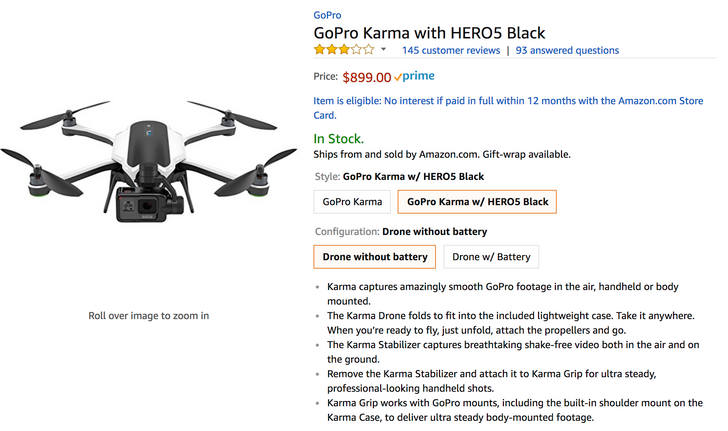 [Deal Alert] GoPro Karma with HERO5 Black is $899, with HERO6 Black $999 ($200 off)