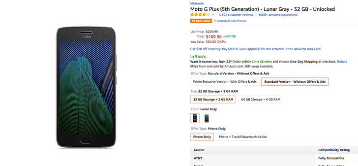 [Deal Alert] Moto G5 Plus 32GB is down to $169.99 ($60 off) on Amazon