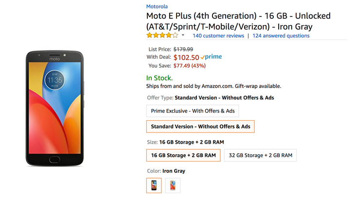 [Deal Alert] Moto E4 Plus is just $102.50 ($77 off) on Amazon, making it even cheaper than Prime Exclusive model