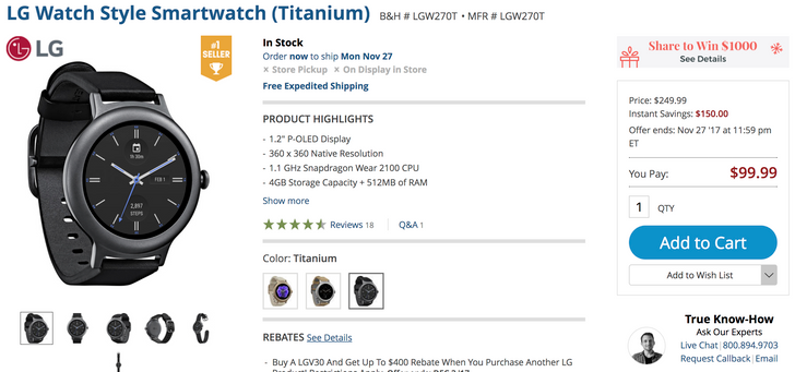 [Deal Alert] LG Watch Style is only $99.99 ($150 off) at B&H