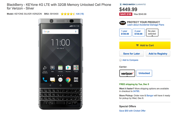 [Deal Alert] Get a BlackBerry KEYone for just $449.99 ($100 off)