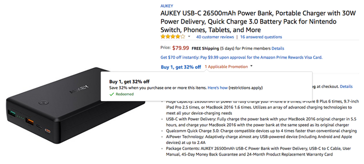 [Deal Alert] AUKEY portable battery packs and chargers, including 30W USB-PD 26,500mAh unit for $54, are up to 32% off on Amazon