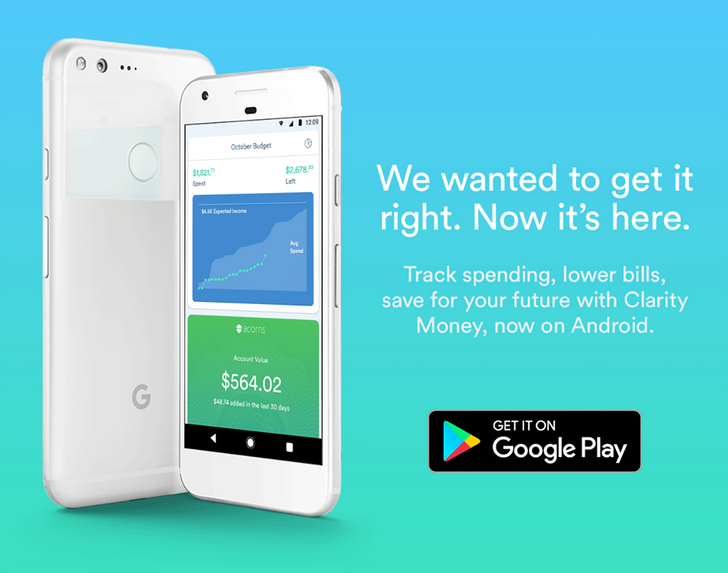 Clarity Money, a personal finance manager that helps users save cash, launches on Android