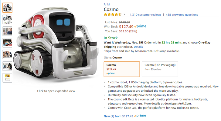 [Deal Alert] Cozmo app-controlled robot is $127 ($53 off) on Amazon