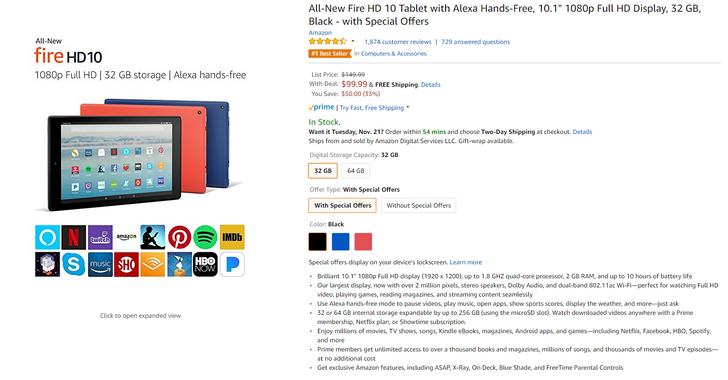 [Deal Alert] Amazon's all-new Fire HD 10 with Alexa starts at $99.99 ($50 off)