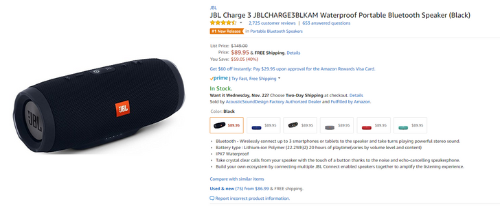 [Deal Alert] Pick up the JBL Charge 3 Bluetooth speaker for $90 ($60 off)