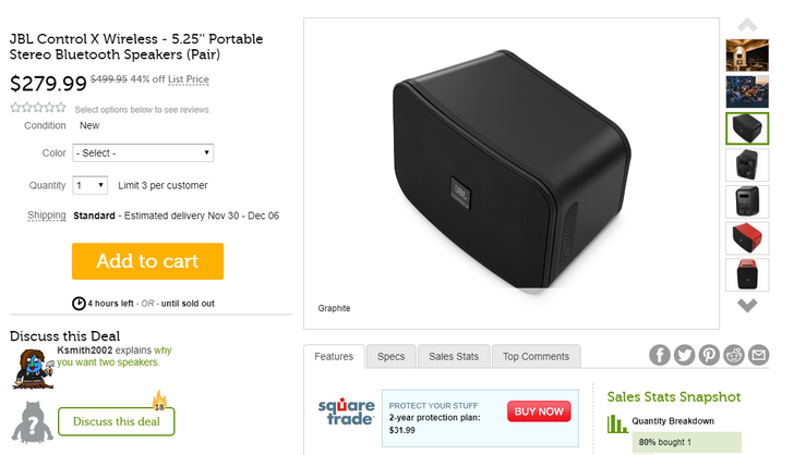 [Deal Alert] Woot has a pair of JBL Control X Bluetooth speakers for $280 ($220 off)