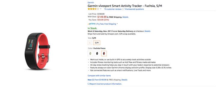 [Deal Alert] Amazon has the Garmin vívosport for $150 ($50 off)
