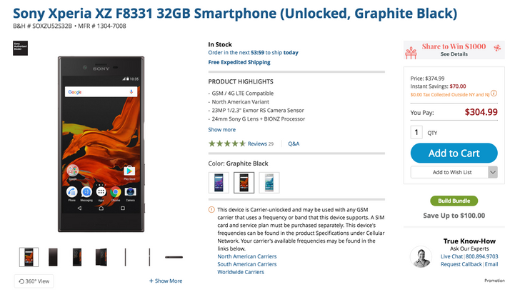 [Deal Alert] Pick up the black Sony Xperia XZ F8331 for $305 ($70 off)