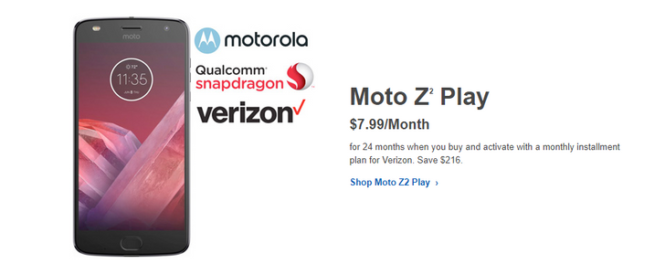 [Deal Alert] Verizon Moto Z2 Play is down to $192 over 24 months at Best Buy ($216 off)