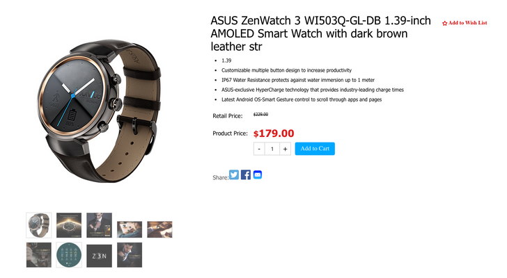 [Deal Alert] Pick up an ASUS ZenWatch 3 for just $180 ($50 off)