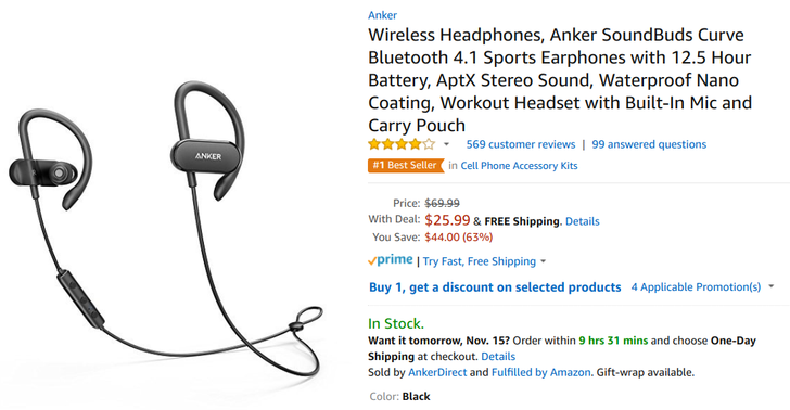 [Deal Alert] Anker Soundbuds Curve down to $25.99 on Amazon ($44 off MSRP)