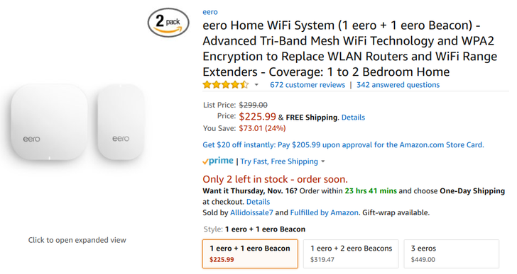[Deal Alert] Eero 2nd gen router and beacon packs discounted up to 24% at several retailers