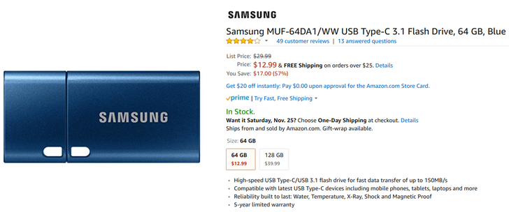 [Sweet Deal Alert] Samsung 64GB USB-C 3.1 flash drive is only $12.99 at Amazon and Best Buy