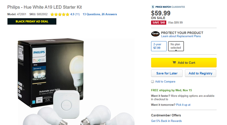 [Update: Ambiance bulbs on sale too] Deal Alert: Philips Hue White A19 LED Starter Kit is $59.99 ($40 off) at Best Buy and Amazon