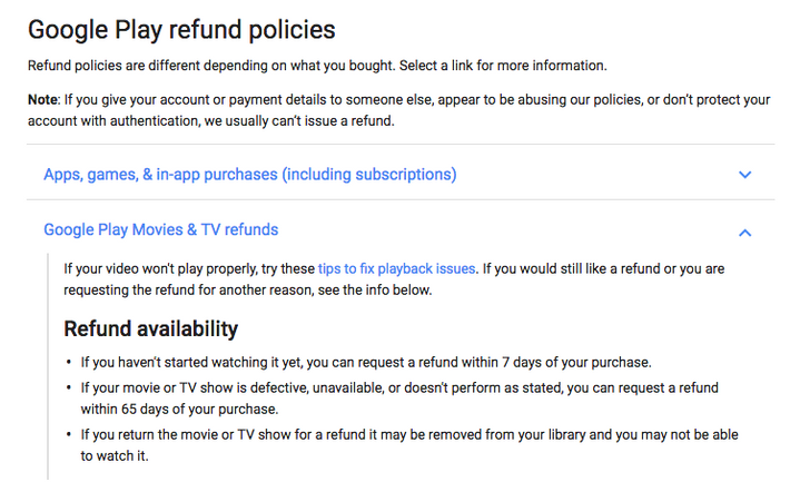Google trims return period for defective movies, books, and TV shows from 120 to 65 days