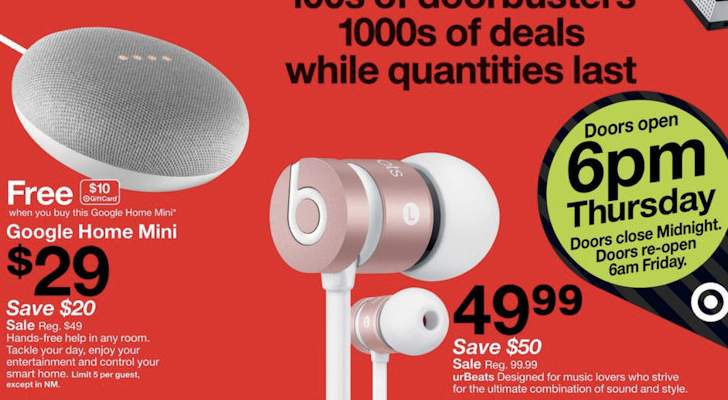 Black Friday Target ad reveals $80 Google Home, $30 Home Mini with $10 giftcard, $30 Fire 7 tablet, and more