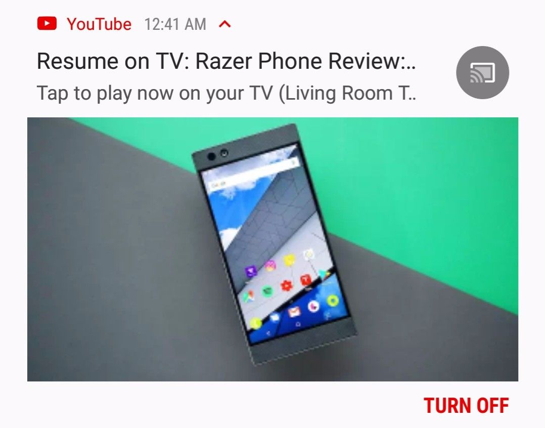 Youtube Notification Offers To Resume A Paused Video On Your