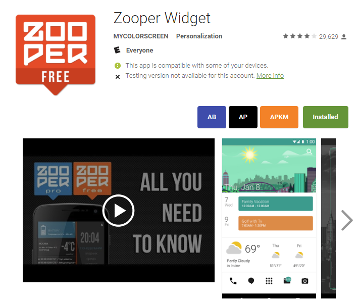 Zooper Widget is back in the Play Store