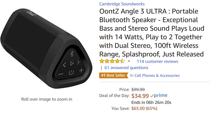 [Deal Alert] Cambridge SoundWorks OontZ Angle 3 Ultra 14W Bluetooth speaker $34.99 at Amazon ($15 off)