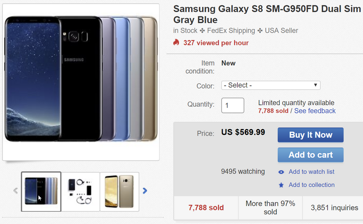 [Deal Alert] Dual-SIM Samsung Galaxy S8 G950FD for $569.99 and S8 Plus G955FD for $619.99 on eBay ($100-150 off)