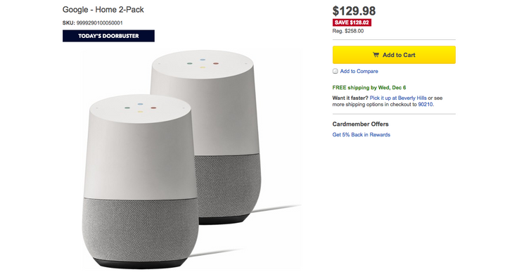 [Deal Alert] Google Home 2-pack is $129.98 ($128.02 off) at Best Buy for today only