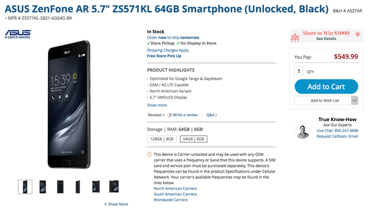 [Deal Alert] ASUS ZenFone AR 6GB/64GB model is down to $549.99 ($50 off) at multiple retailers