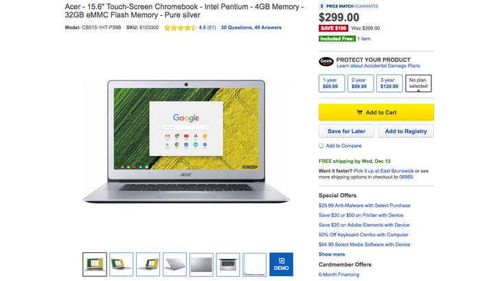 [Killer Deal Alert 2: Electric Boogaloo] New Acer Chromebook 15 is just $299.99 ($100 off) with free Google Home from Best Buy
