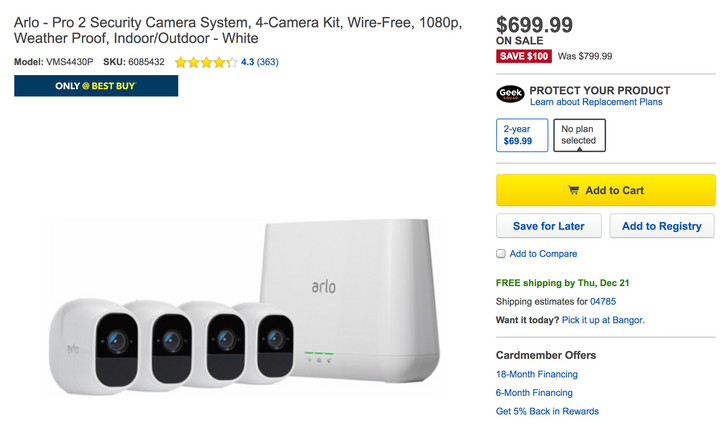 [Deal Alert] Arlo Pro 2 discounts include $100 off four-cam kit ($700), $30 off two-cam kit ($450), and $20 off single cam ($200)