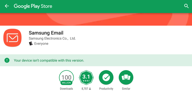 Samsung Email hits 100 million downloads on the Play Store