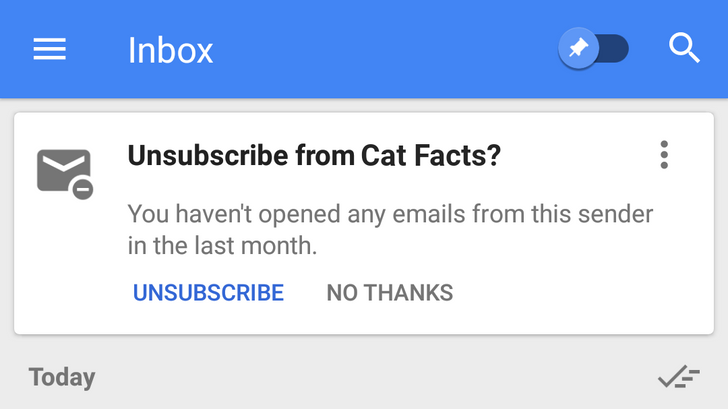 Inbox has a new unsubscribe card for mailing lists you don't read